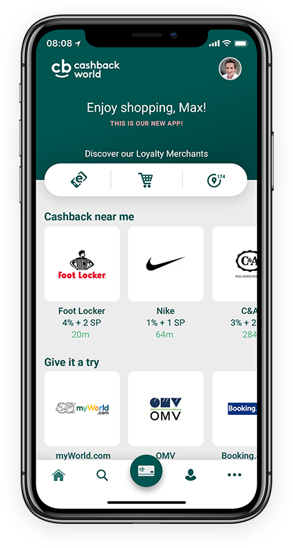 Be found immediately in the Cashback App